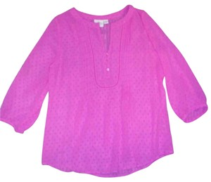 St. John Bay Dotted Sheer Top Pink