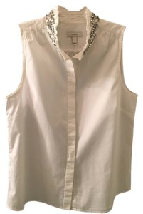 J.Crew Rhinestone Oxford Statement Top White