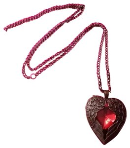 Red Rhinestone Heart Bronze Angel Wings Necklace