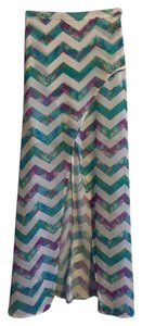 SABO SKIRT Tropical Mermaid Sheer Maxi Skirt Mykonos Blue, White, Purple