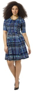 Tristan short dress Sapphire Plaid Fit & Flare Plus Size on Tradesy