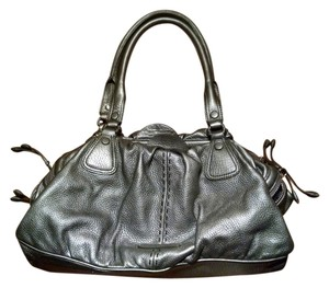 Cole Haan Silver Pebbled Leather Spring Shoulder Bag