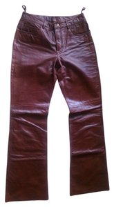 Express Leather Boot Cut Pants Brown Maroon