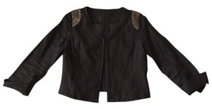 Harlowe & Graham Linen Jacket Linen Linen Embelished Cute Jacket Rock Fashion Embellished Cropped Jacket Cropped Cute Casual And Black Blazer