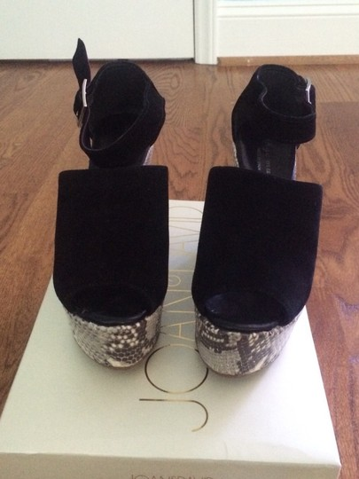 Bettye Muller Black Sued With Cream And Black Snake Print Wedges