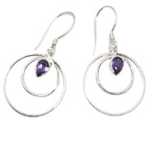 Island Silversmith Island Silversmith 925 Silver Amethyst Circle in Circle Earrings 0201Q *FREE SHIPPING*