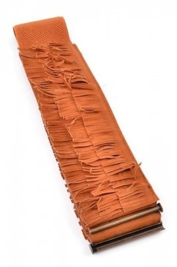 Pola NWT Camel Brown Wide Stretch Belt with Fringe