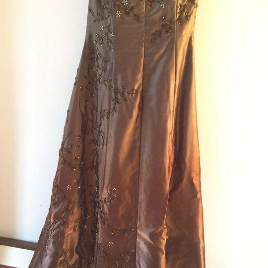 Jovani Bronze With Green And Gold Shimmer. Asymmetric Detail With Green Tones Gown. Can Be Used For A Wedding Or Prom. Dress