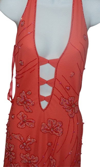 Item - Coral Sexy Cut Out Beaded Gown Long Formal Dress Size 8 (M)