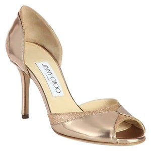 Jimmy Choo Leather Glitter Stiletto Rose Gold Pumps