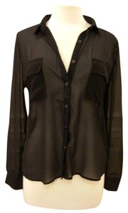 Olive + Oak Sheer Button Down Night Out Top Black