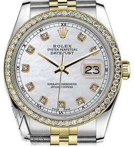 Rolex Ladies Rolex 31mm Datejust Tone White Mother Of Pearl Dial With Diamond Accent