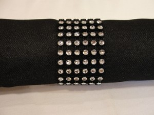Black and Silver 50 Tone Bling Sparkle Diamond Mesh Rhinestone Napkin Rings (6 Rows) Quinceanera - Shower Tableware