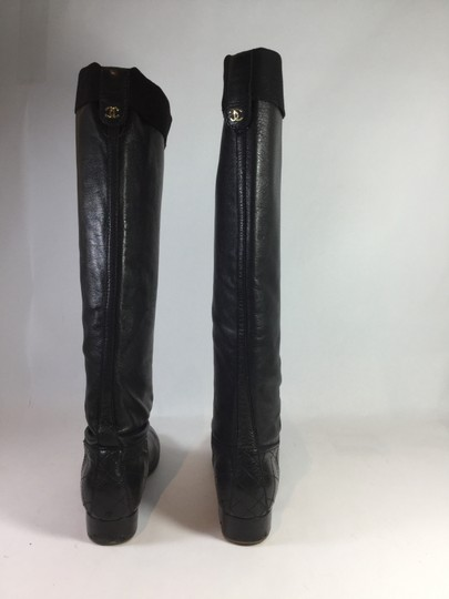 Chanel Leather Tall Black Boots