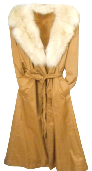 Other Fur Full Length Water Repellant Fur Lined Tan Burberry Trench Coat