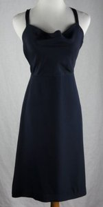 J.Crew short dress Blue Robin Drape Neck Silk Tricotine Navy on Tradesy
