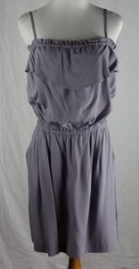J.Crew short dress Gray Factory Rayon Ruffled Spaghetti Strap Pockets on Tradesy