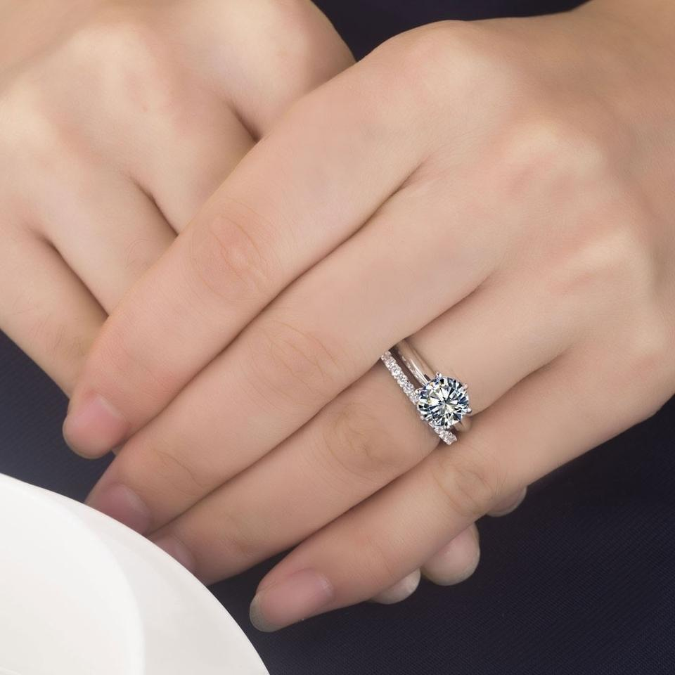 Prong Engagement Ring With Diamond Band