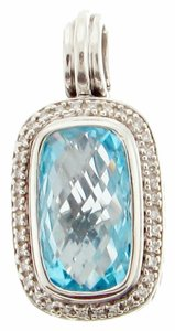 David Yurman New David Yurman Albion Sterling Silver Diamond and Blue Topaz pendant - STEAL MUST SEE
