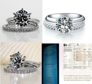 2ct Nscd Sona Simulated 6 Prong Solitaire Diamond Eternity Band Bride Set Engagement Ring