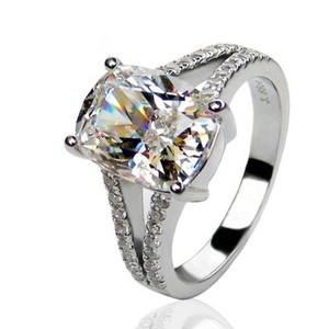 4.85ct Nscd Sona Simulated Solitaire Diamond Rin Bride All Size White Lab Man Made 4.85ct Square Band Pave Pt950 Engagement Ring