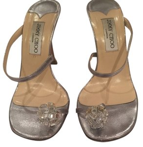 Jimmy Choo Embellished Slip Ons Night Out Crystals Toe Ring Silver Sandals