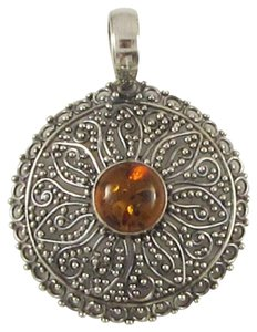 Iceland Silversmith Iceland Silversmith Hand Worked 925 Sterling Silver Amber Pendant
