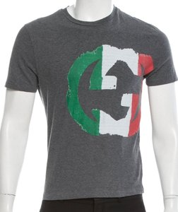 Gucci Shortsleeve Logo Monogram Cotton T Shirt Grey, Green, Red