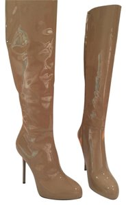 Sergio Rossi Beige Patent Leather Boots