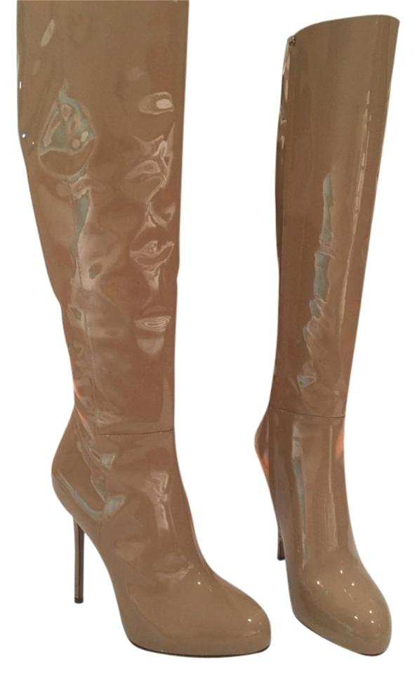 Sergio Rossi New Beige Patent Leather Tall New Rossi Boots/Booties 1fdb92