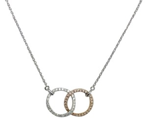 Other 14K Solid White and Rose Gold Double- Circle with Natural Diamond Necklace