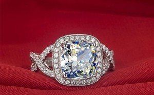All Sizes Vvs1 3ct Cushion Cut Diamond Engagement Ring Pt950 3ct Nscd Sona Simulated Solitaire Diamond Engagement Rin 3