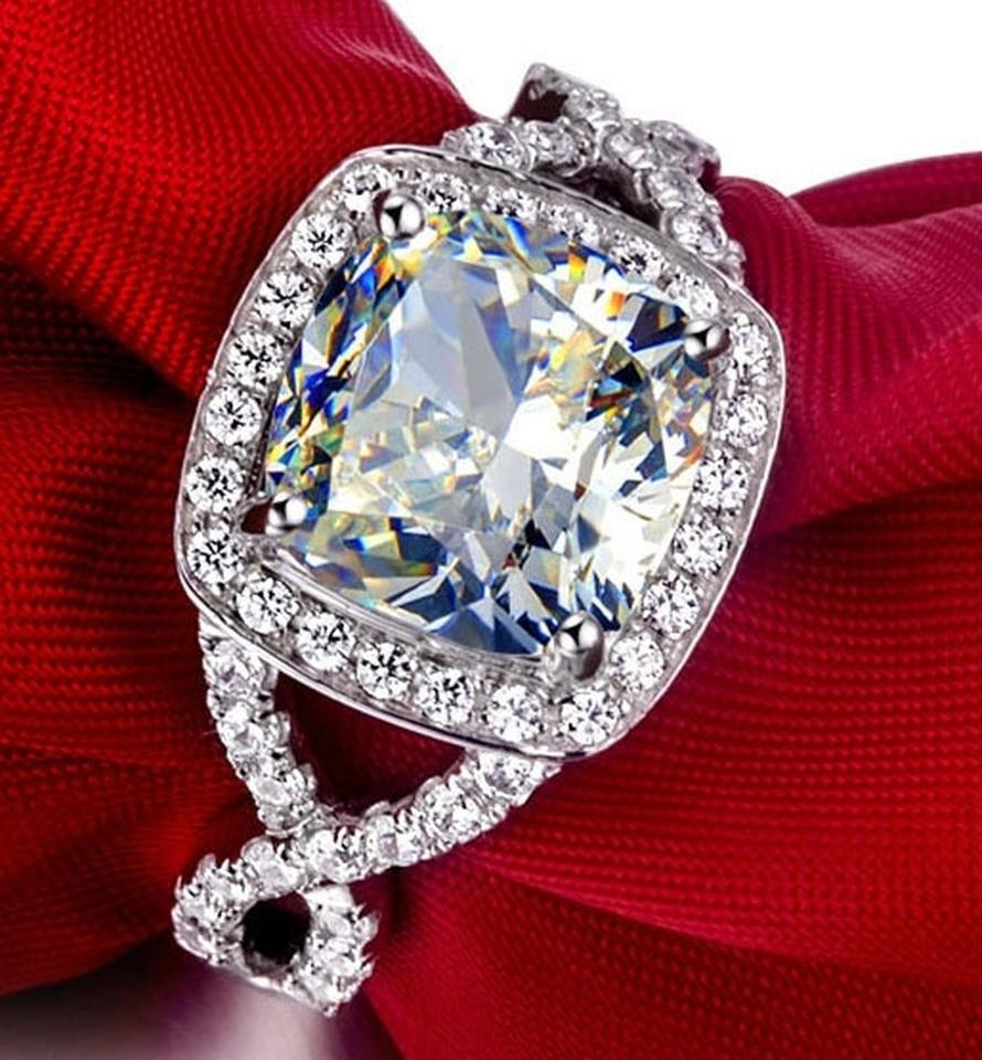 All Sizes Vvs1 3ct Cushion Cut Diamond Engagement Ring Pt950 3ct Nscd  Sona Simulated Solitaire Diamond