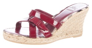 Burberry Nova Check Patent Leather Monogram Jute Silver Hardware Black, Beige, Red Wedges