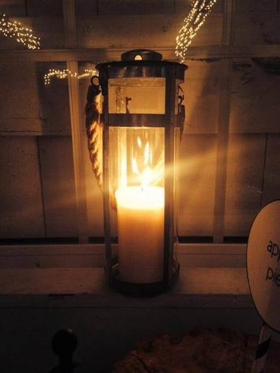 Two Lanterns With Pillar Candles