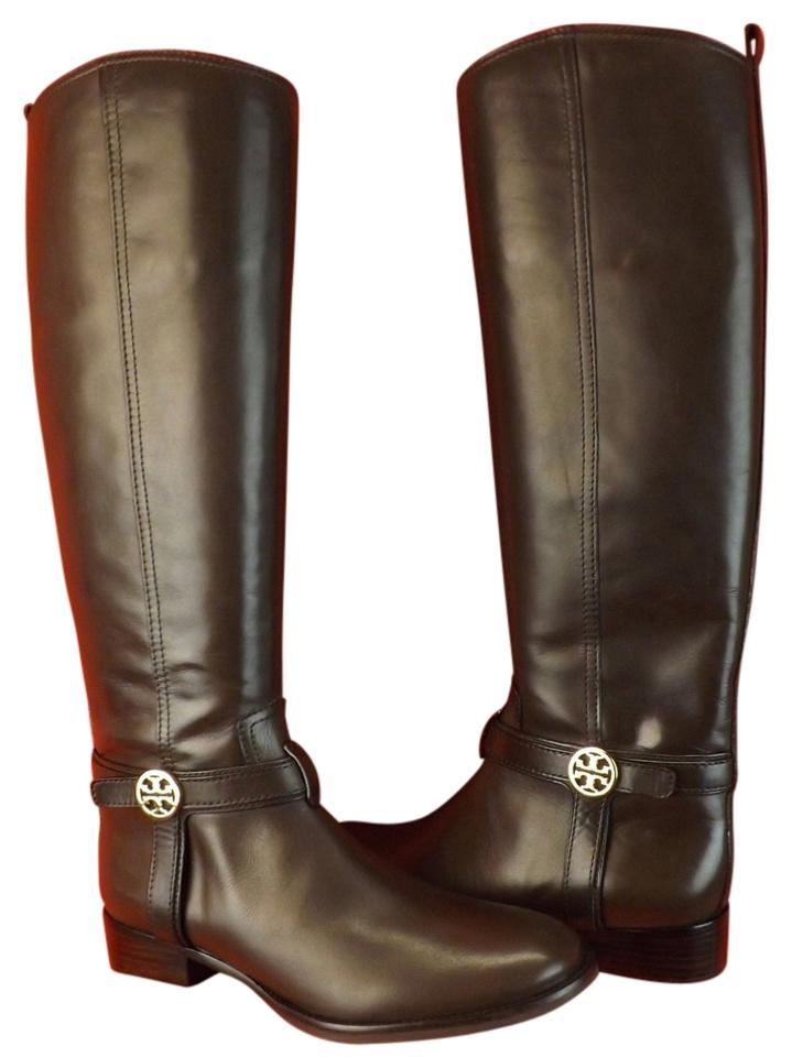 f53585bcf863 Tory Burch Brown Bristol Coconut Leather Gold Reva Tall Harness Riding Boots  Booties