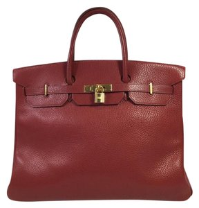 Herms Birkin 40cm Togo Leather Tote in Red