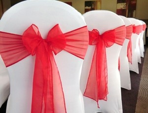 100 Red Organza Chair Sashes
