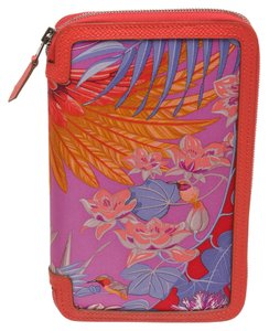 Hermès Hermes Pink Multicolor Soie Cool Flamingo Party Zipper Wallet