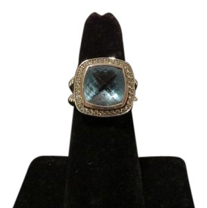 David Yurman Albion Collection 11mm Blue Topaz/Pave Diamonds Ring