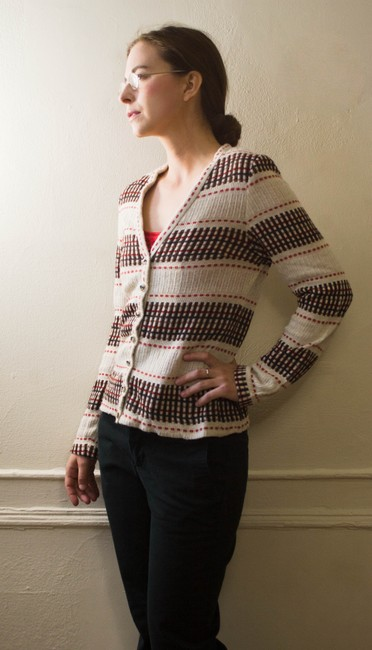 Vintage 1960 1970 60s 70s Winter Fall Spring Sweater Knit Hipster Nerd Plaid Cardigan