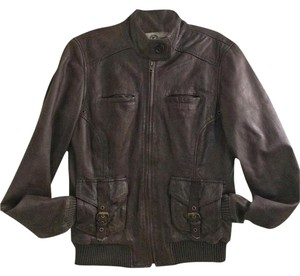 Lucky Brand Leather Bomber Mocha Brown Leather Jacket