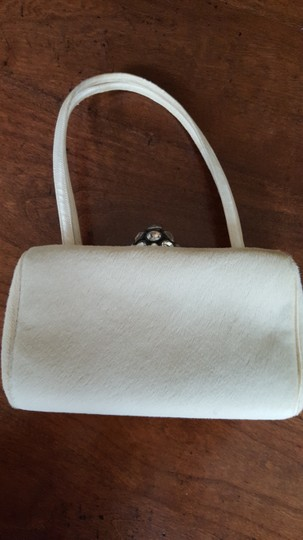 Vintage Pony Hair Beaded Clasp Silk Handle Ivory Clutch