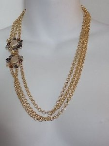 Banana Republic Banana Republic Crystal Clasp Multi Chain Necklace