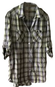 7 For All Mankind Plaid Button Down Blouse Tunic