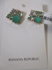 Banana Republic Banana Republic Green Stone Cyrstal Custler Stud Earrings