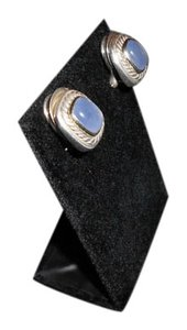 David Yurman David Yurman Albion Collection - Cabochon Blue Chalcedony SS and 14k YG Earrings