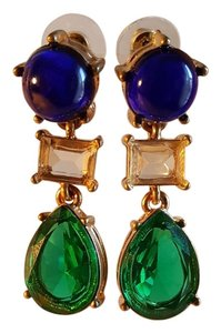 Adorable green blue Gold Plated Earrings Vintage Style
