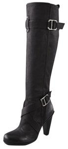 DKNY Donna Karen Winter Knee High Leather Stacked Heel Black Boots