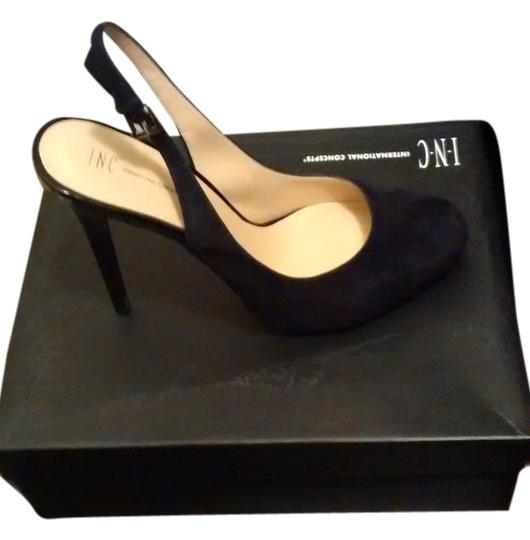 INC International Concepts Sexy Formal Almond Toe Stiletto Openback black suede Pumps